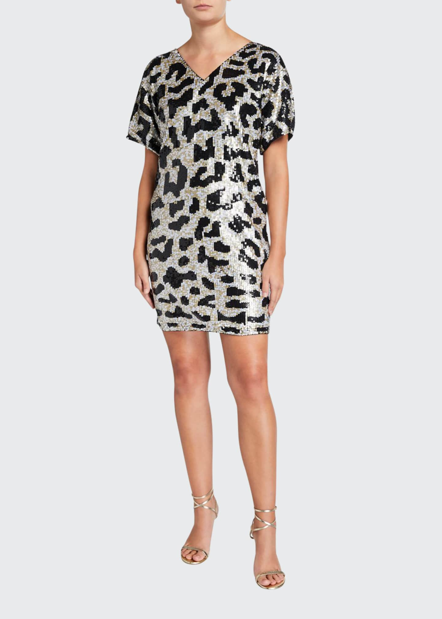 Aidan Mattox Leopard Sequin V-Neck Short-Sleeve Mini Dress