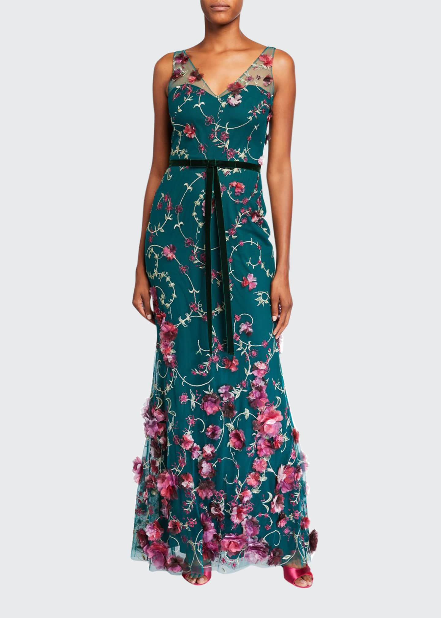 Marchesa Notte V-Neck Sleeveless Embroidered Gown w/ 3D