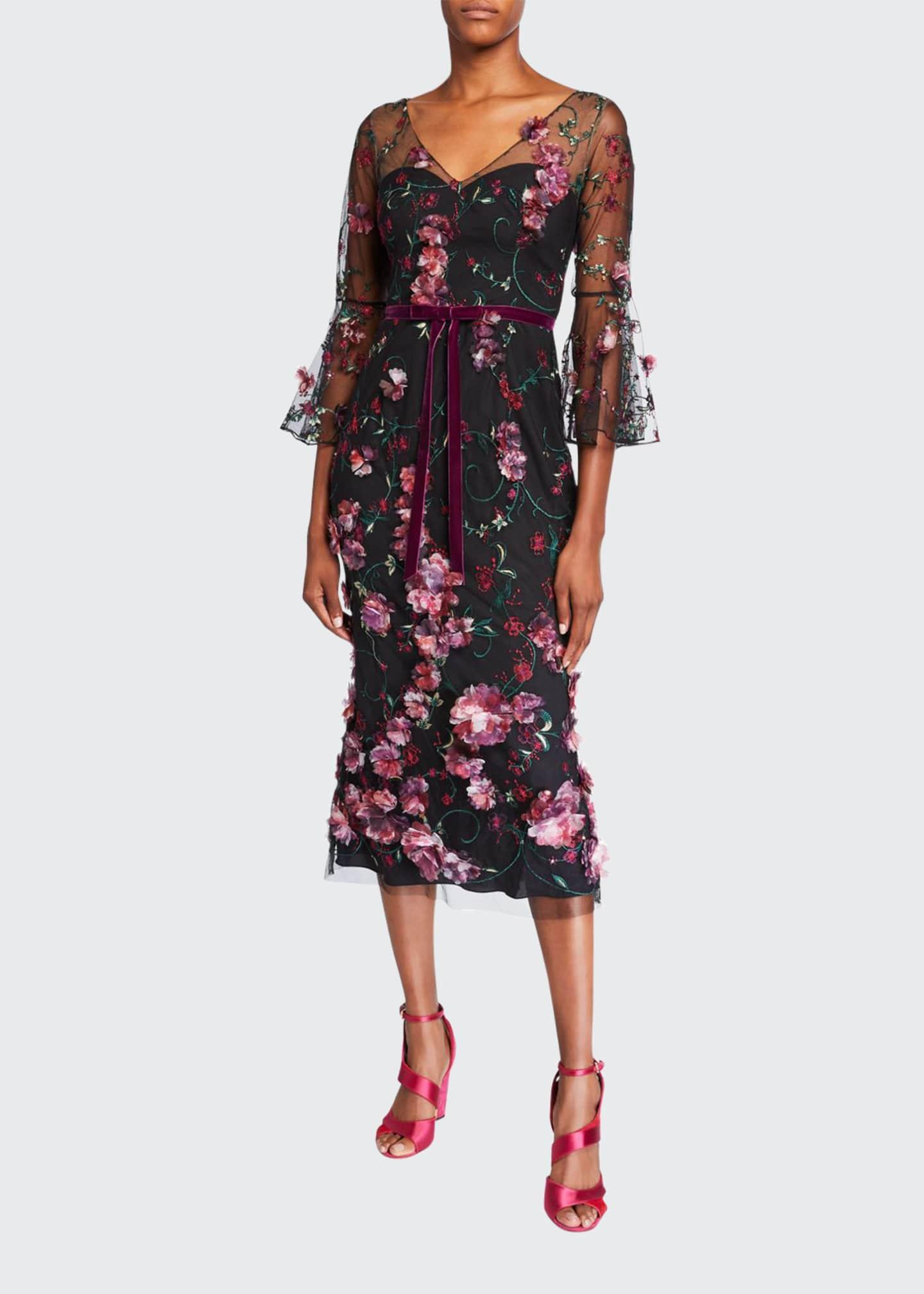 Marchesa Notte V-Neck Flutter-Sleeve Embroidered Tulle Dress w/
