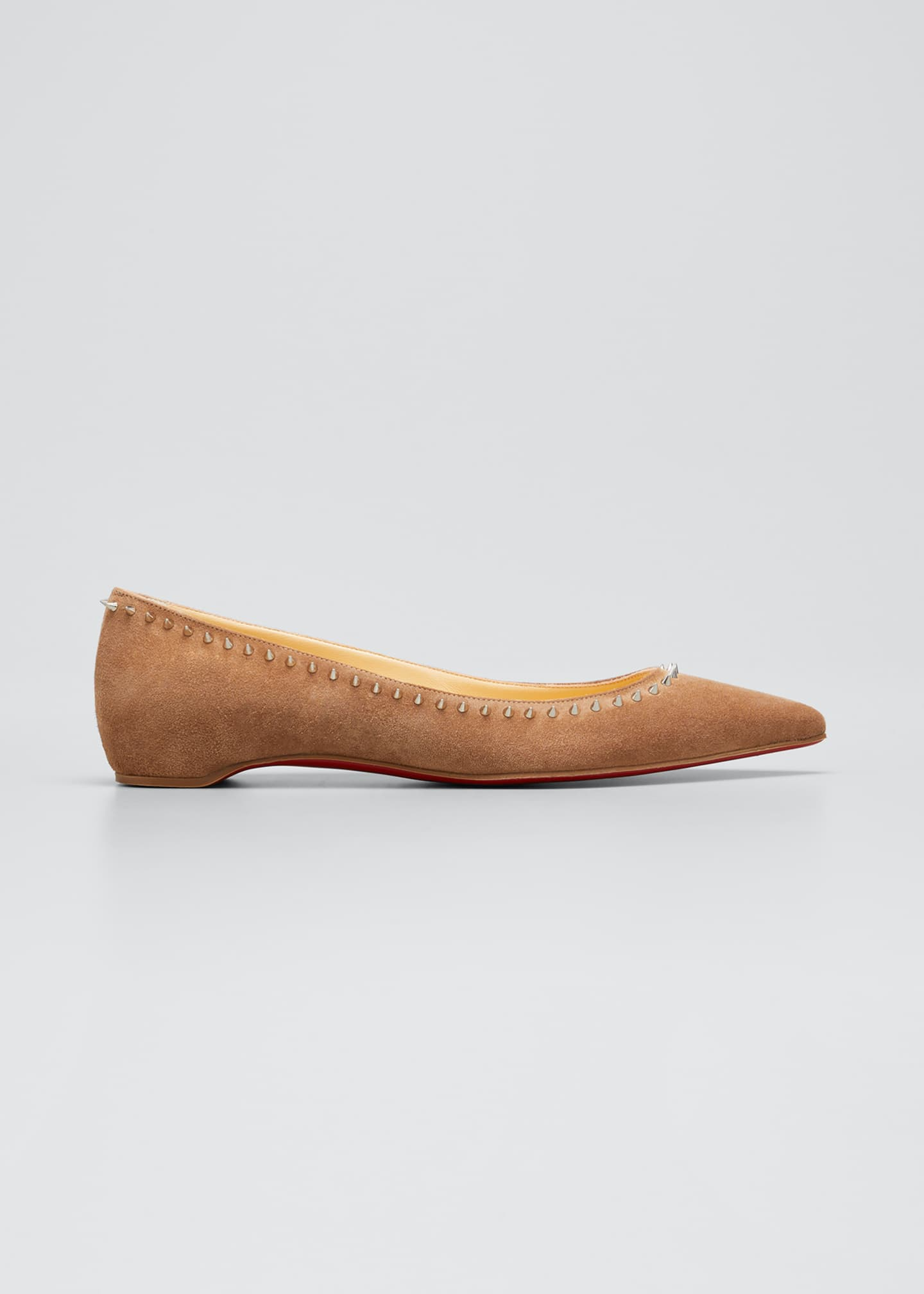 Christian Louboutin Anjalina Spiked Suede Red Sole Ballerina