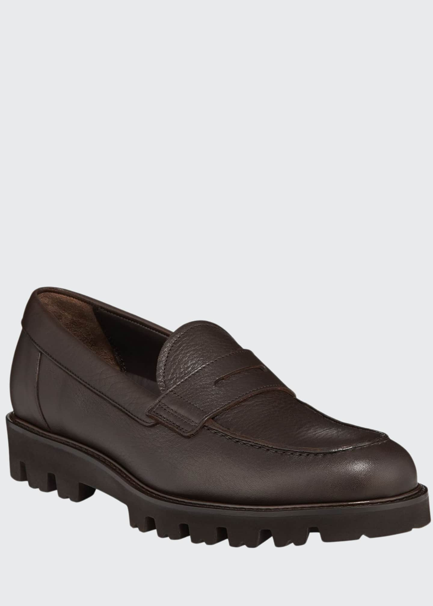 Image 1 of 5: Men's Comrade Leather Lug-Sole Penny Loafers