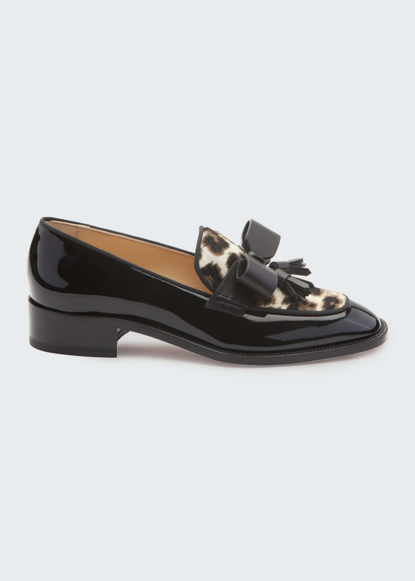 Christian Louboutin Carmela Patent Loafers with Leopard Calf