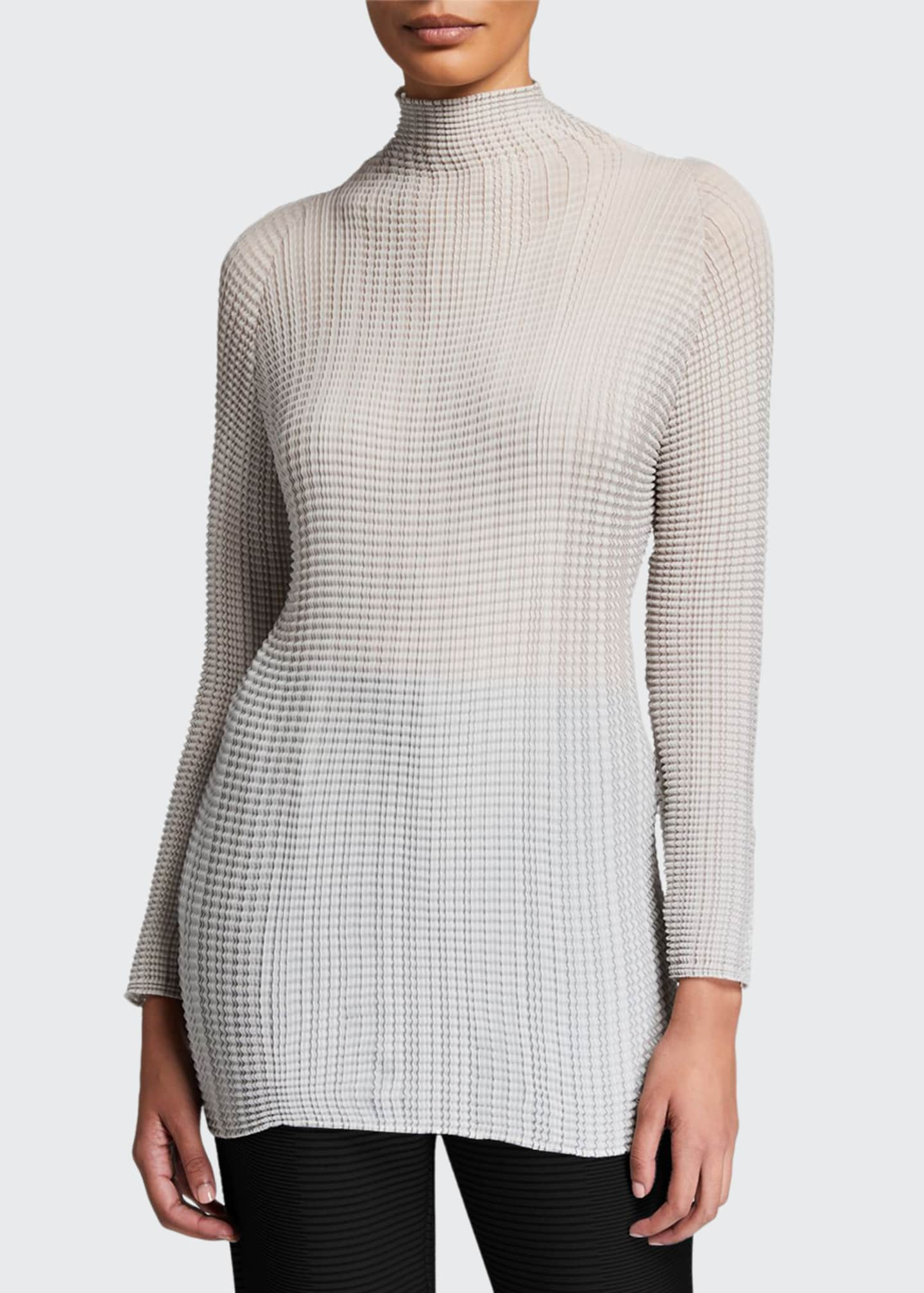 Issey Miyake Wooly Pleated Mock-Neck Sweater