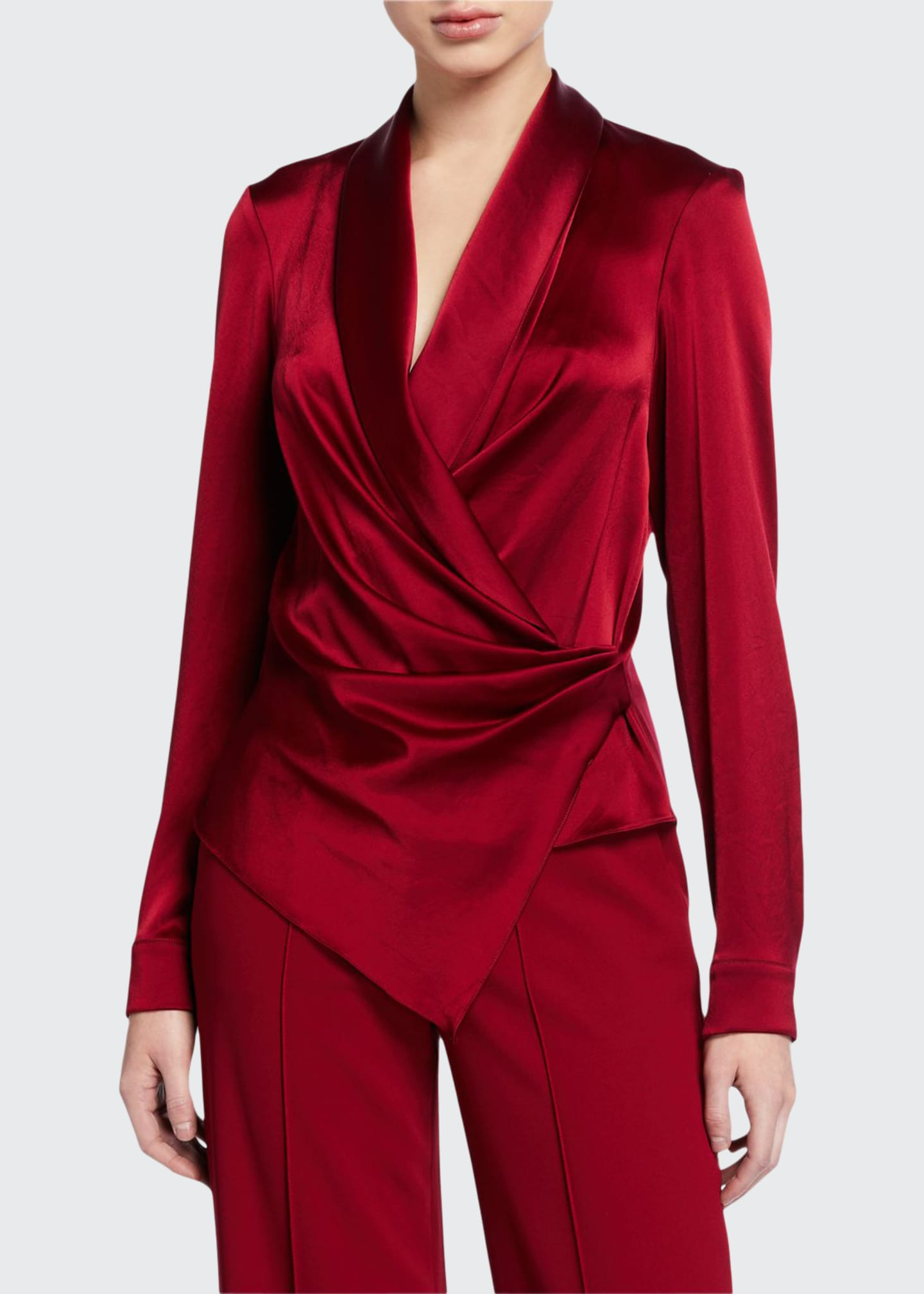 Alice + Olivia Aurora Draped Shawl-Collar Wrap Top