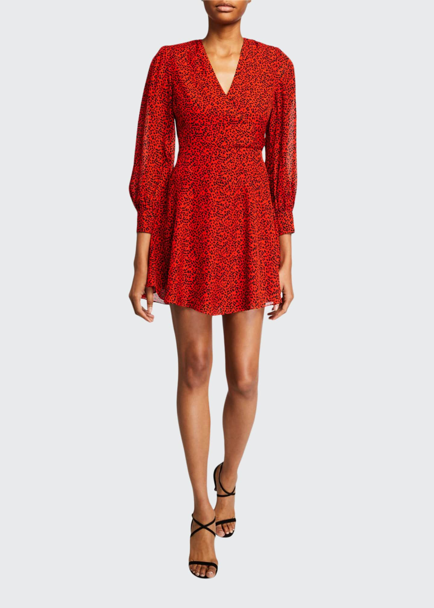 Alice + Olivia Polly Animal-Print Strong-Shoulder Dress