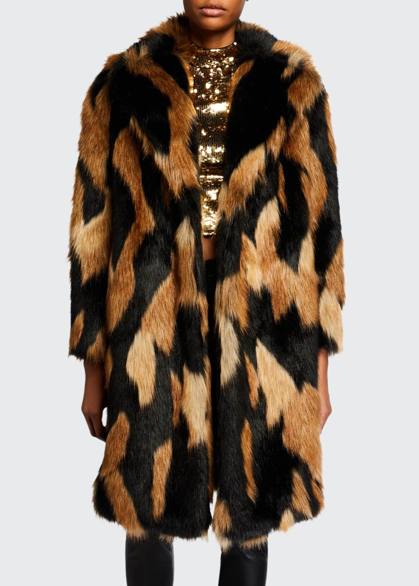 Alice + Olivia Foster Long Faux-Fur Coat