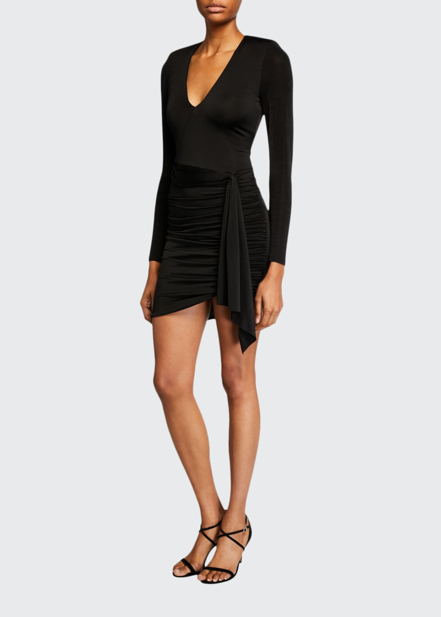 Alice + Olivia Kyra Deep V Drapey Long-Sleeve