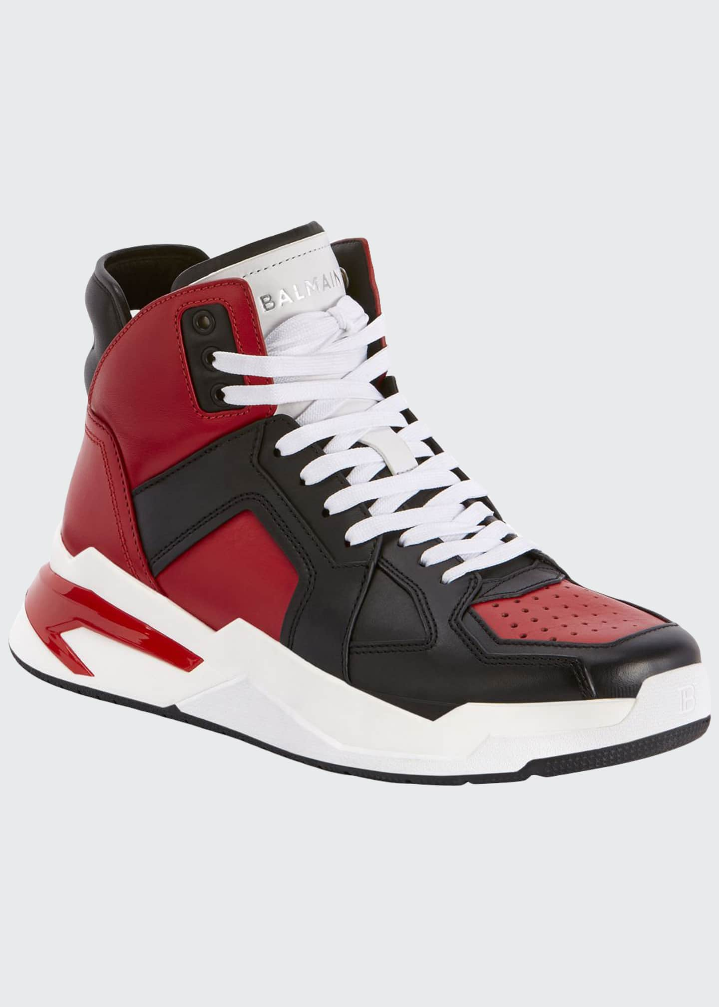 Balmain Men's B Ball Colorblock Leather High-Top Sneakers