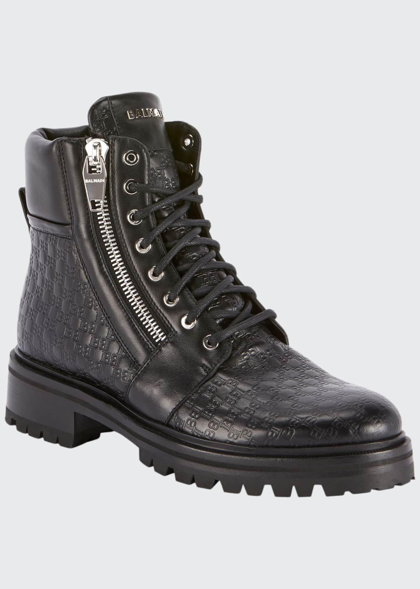 Balmain Men's Monogrammed Leather Combat Boots