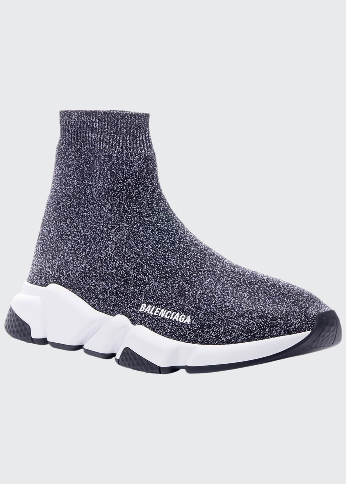 Image 1 of 4: Men's Speed Heathered Knit High-Top Sock Sneakers