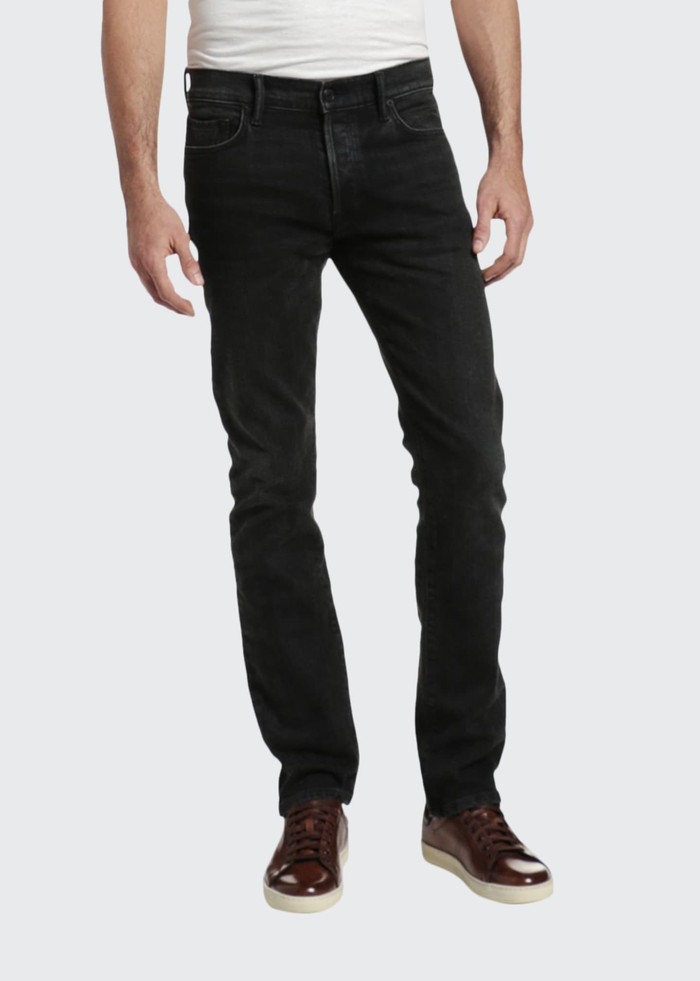 Image 1 of 3: Men's Slim Straight-Leg Stretch Denim Jeans