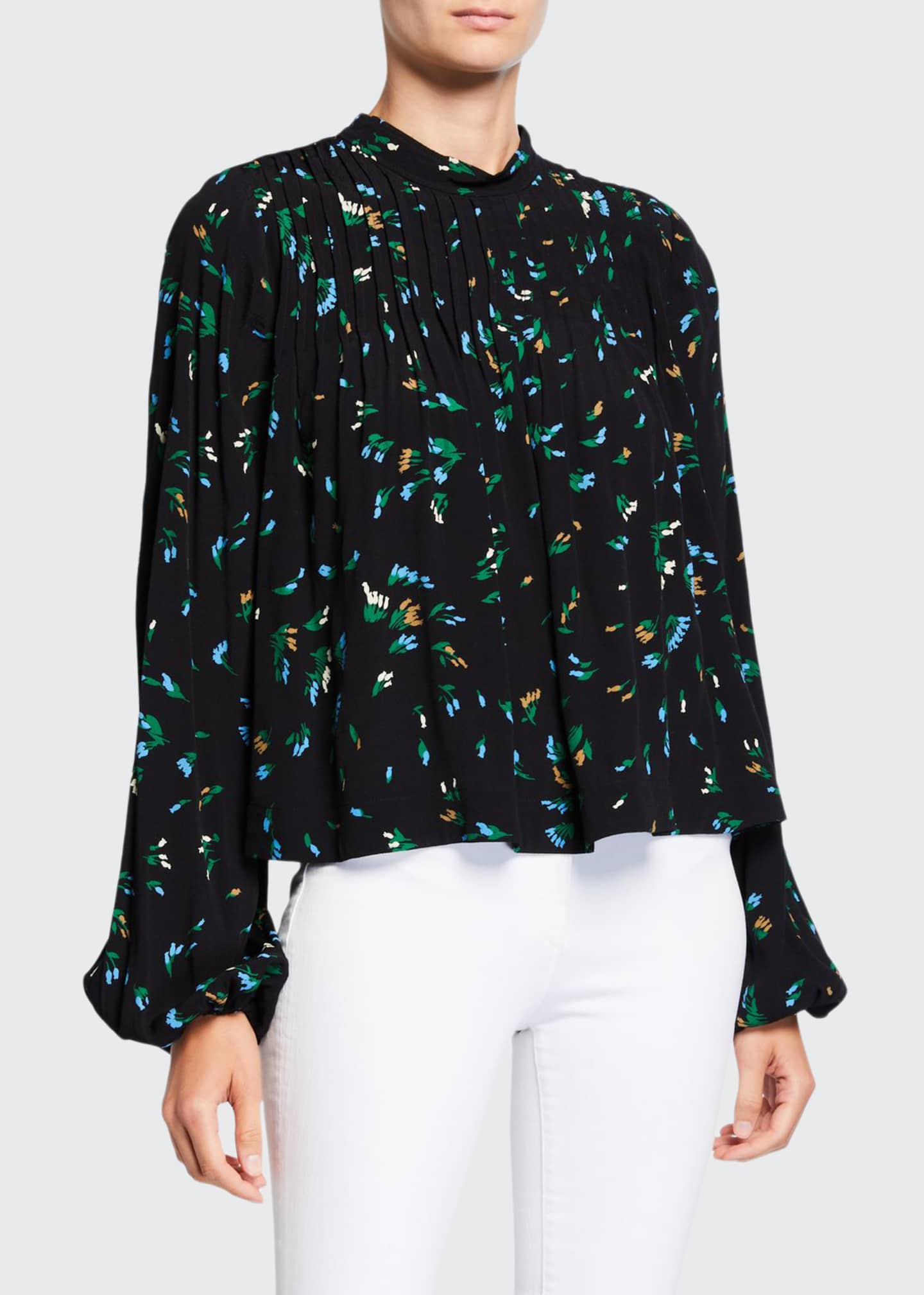 Image 1 of 2: Floral-Print Pleated Crepe Top