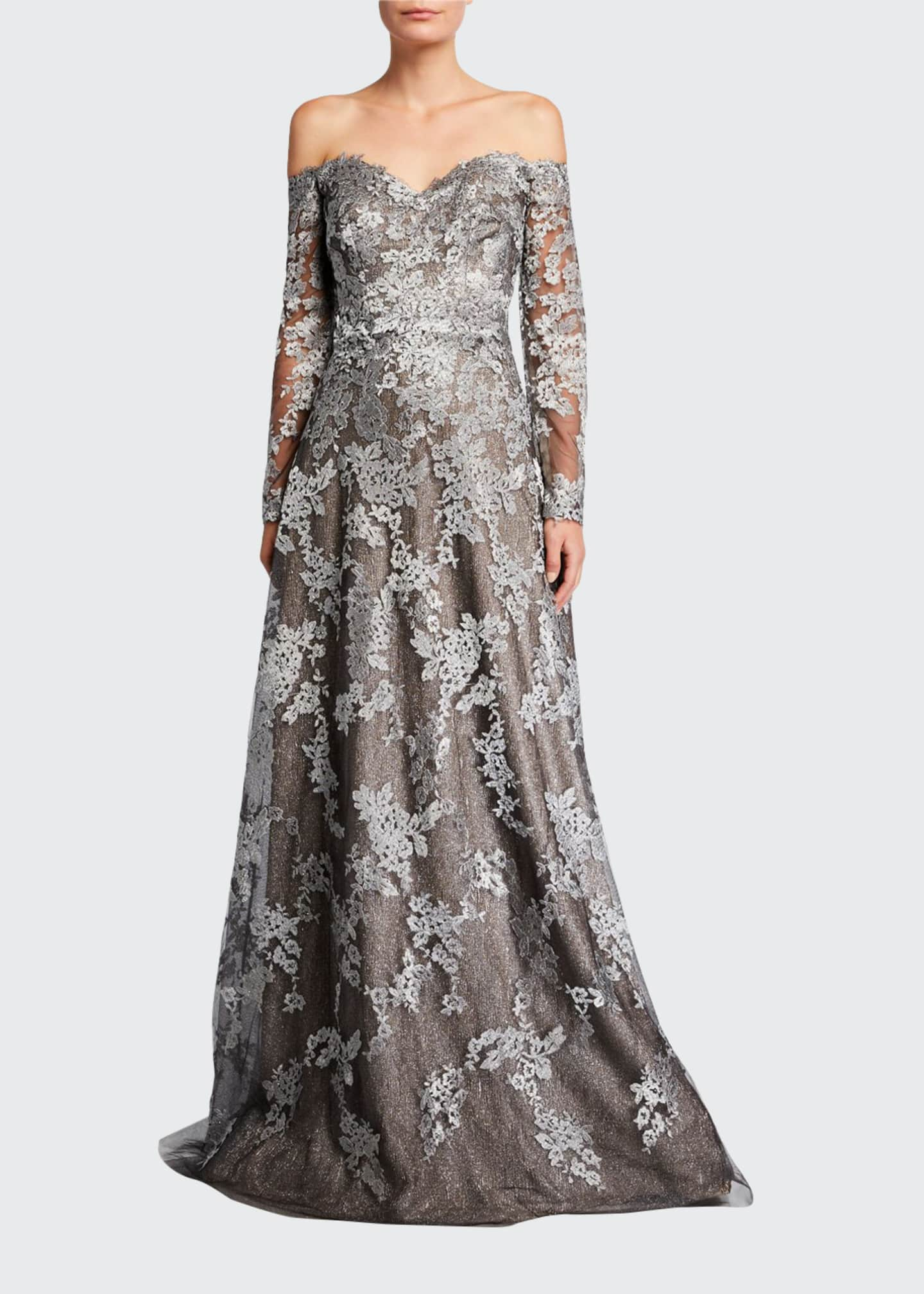 Image 1 of 2: Off-the-Shoulder Long-Sleeve Lace Gown