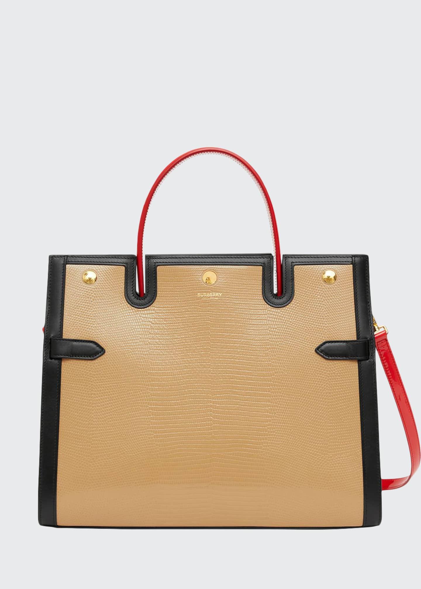 Burberry Lizard-Embossed Medium Top Handle Bag