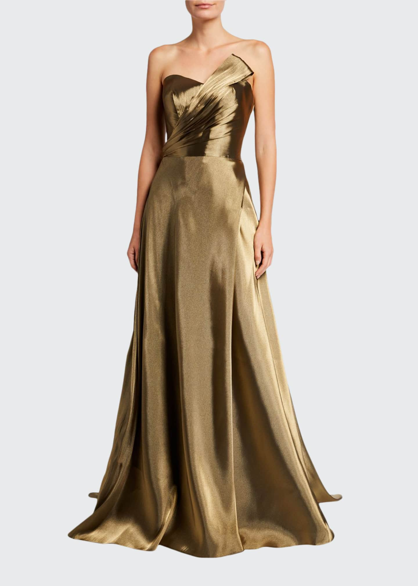 Image 1 of 2: Strapless Metallic Bustier Gown