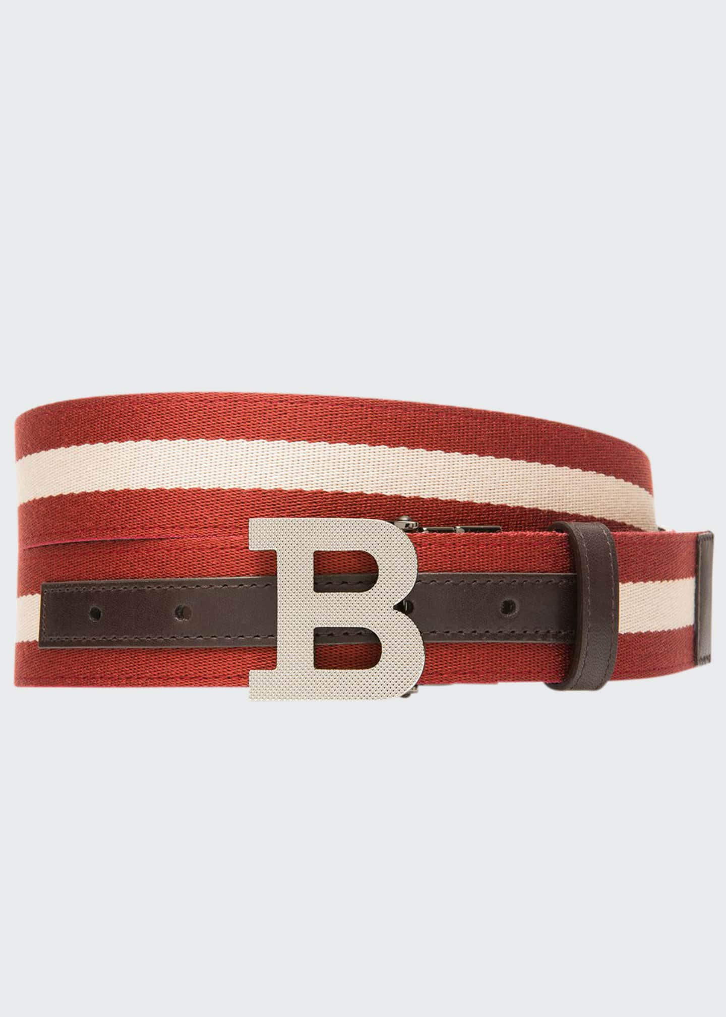 Bally Men's B-Buckle Webbing Belt
