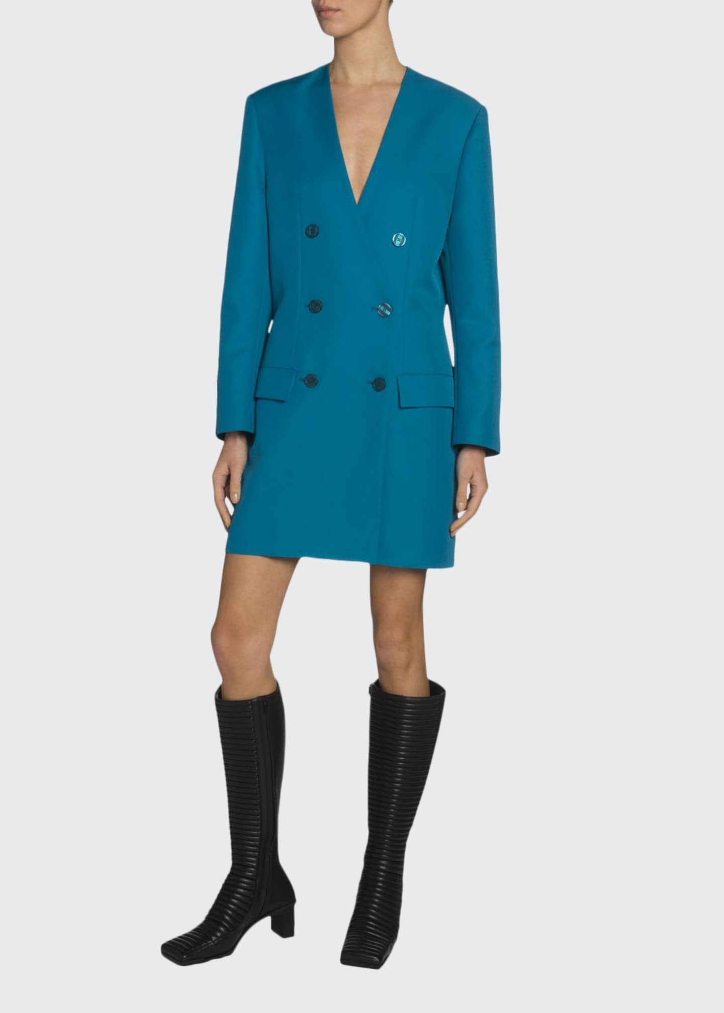 Balenciaga Tech Twill Double-Breasted Blazer Dress