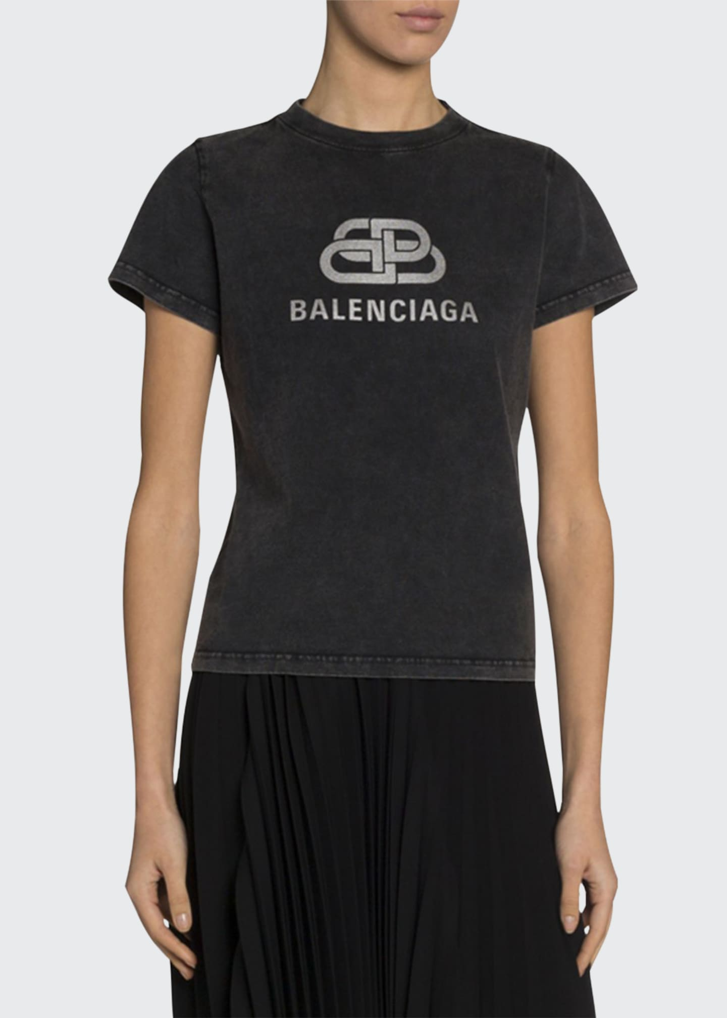Balenciaga Distressed Silver Logo Tee