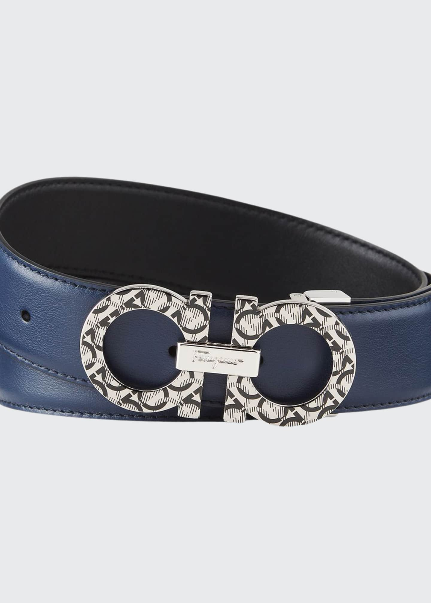 Men's Printed-Gancini Leather Belt