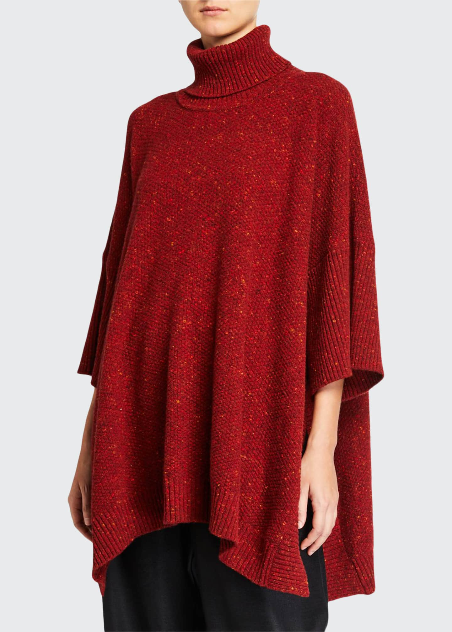 Eskandar Wool-Cashmere 3/4-Sleeve Rolled-Neck Poncho