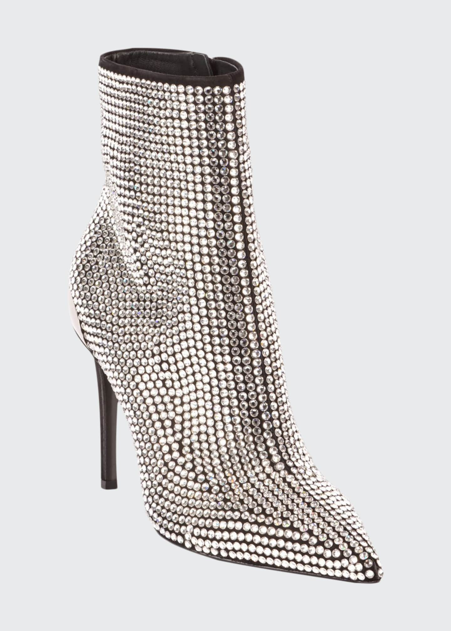 Balmain Crystal-Embellished Leather Cocktail Booties