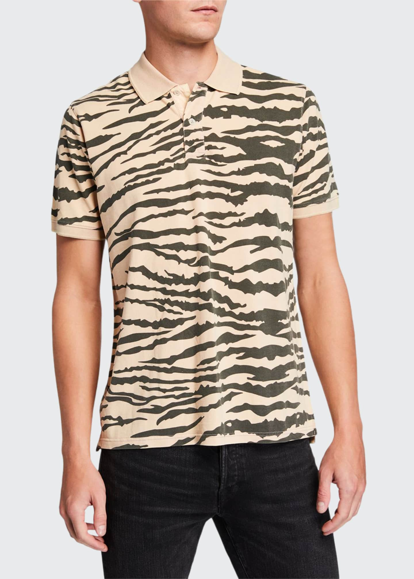 Image 1 of 2: Men's Tiger-Pattern Pique Polo Shirt