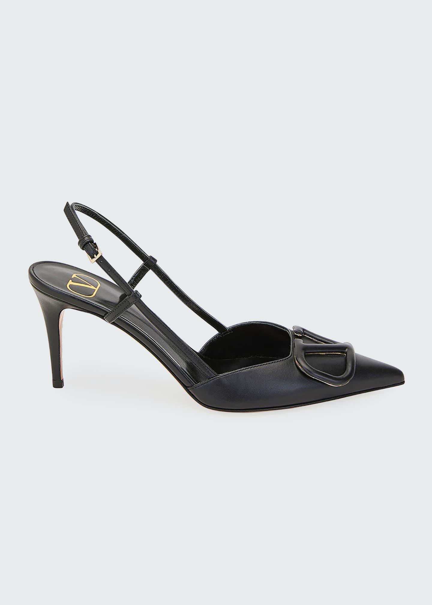 Valentino Garavani V-Logo Flat Leather Slide Sandals