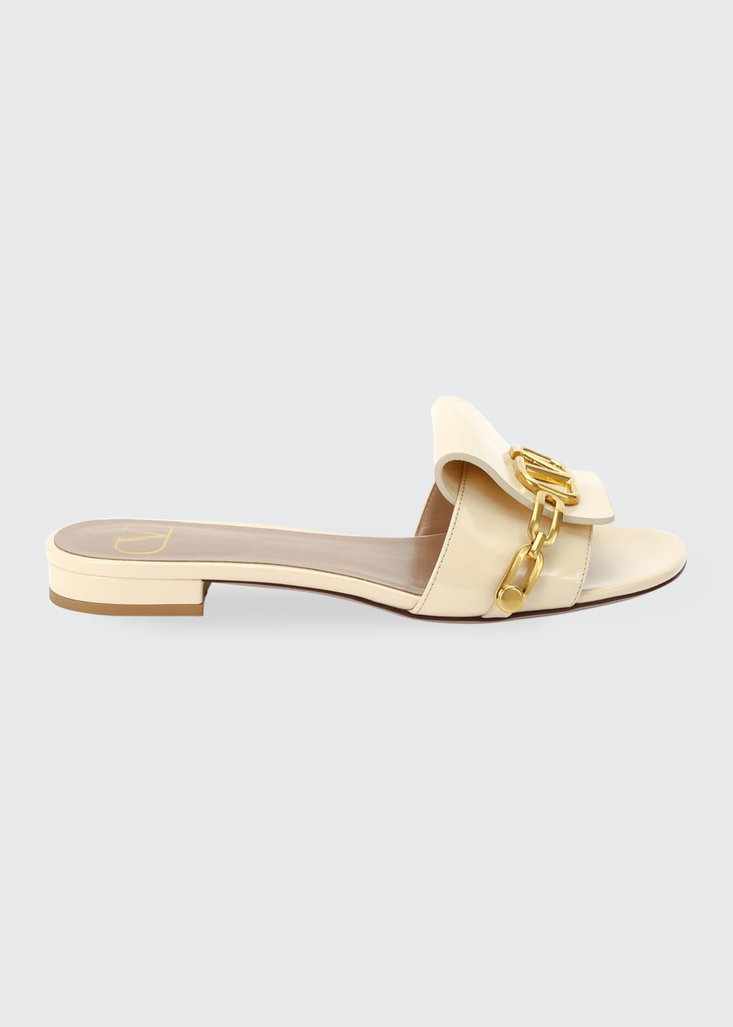 Valentino Garavani Patent V Logo Flat Sandals