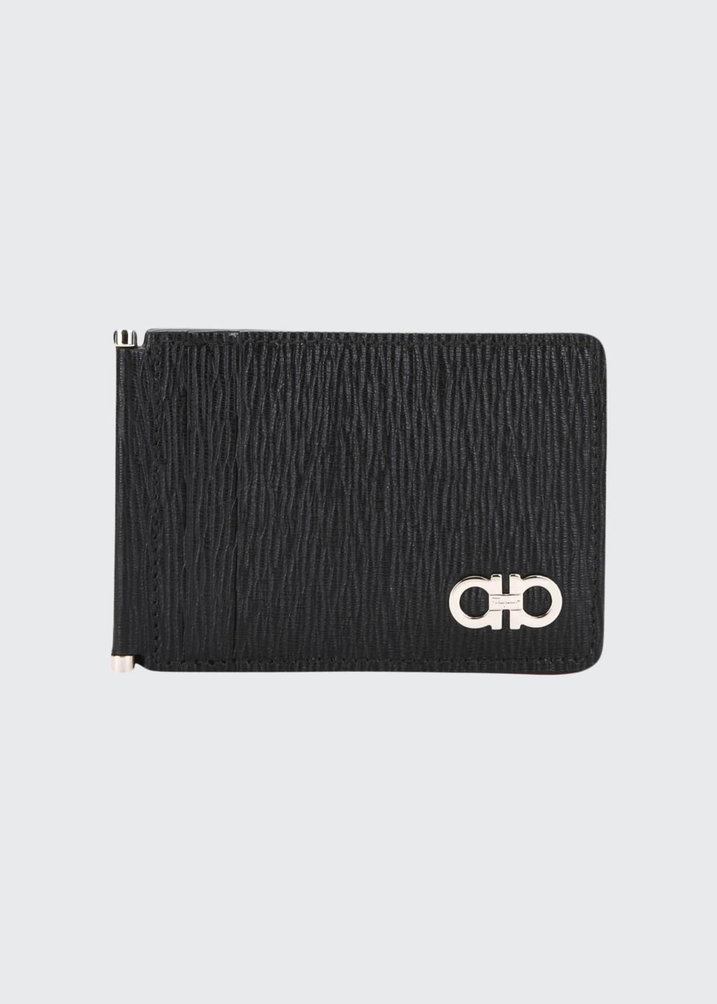 Salvatore Ferragamo Men's Leather Card Case w/ Brass