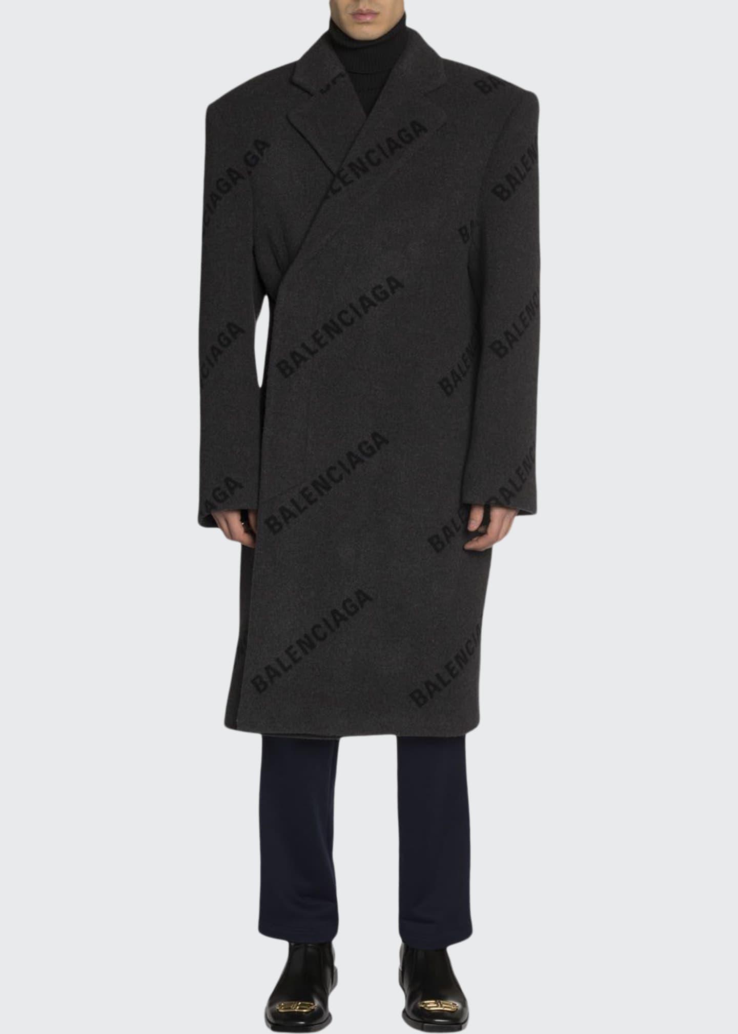 Balenciaga Men's Cashmere Intarsia Logo Shift Overcoat