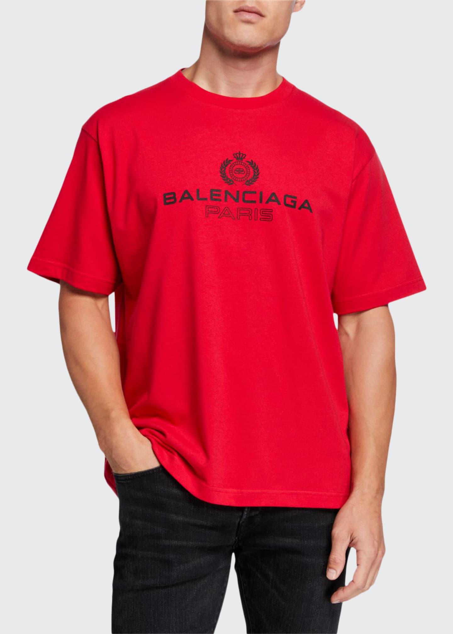 Balenciaga Men's Leaf Logo Crewneck T-Shirt