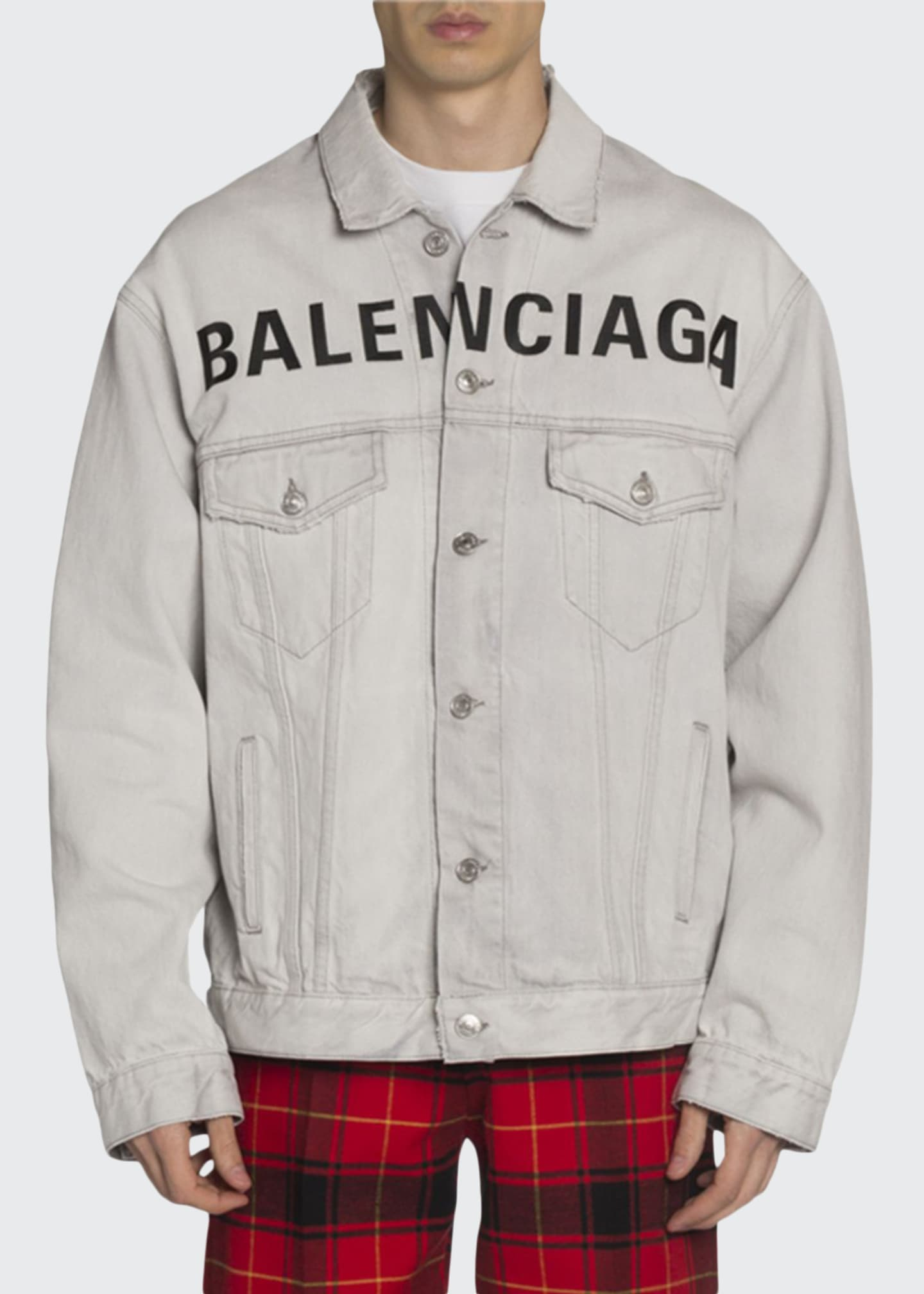 Balenciaga Men's Bleached Denim Jacket with Logo