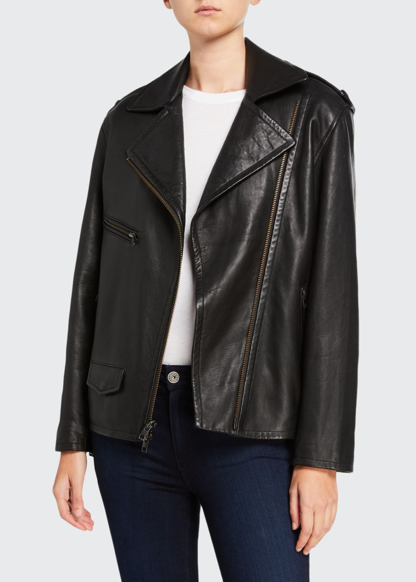 Image 1 of 3: Leather Moto Jacket
