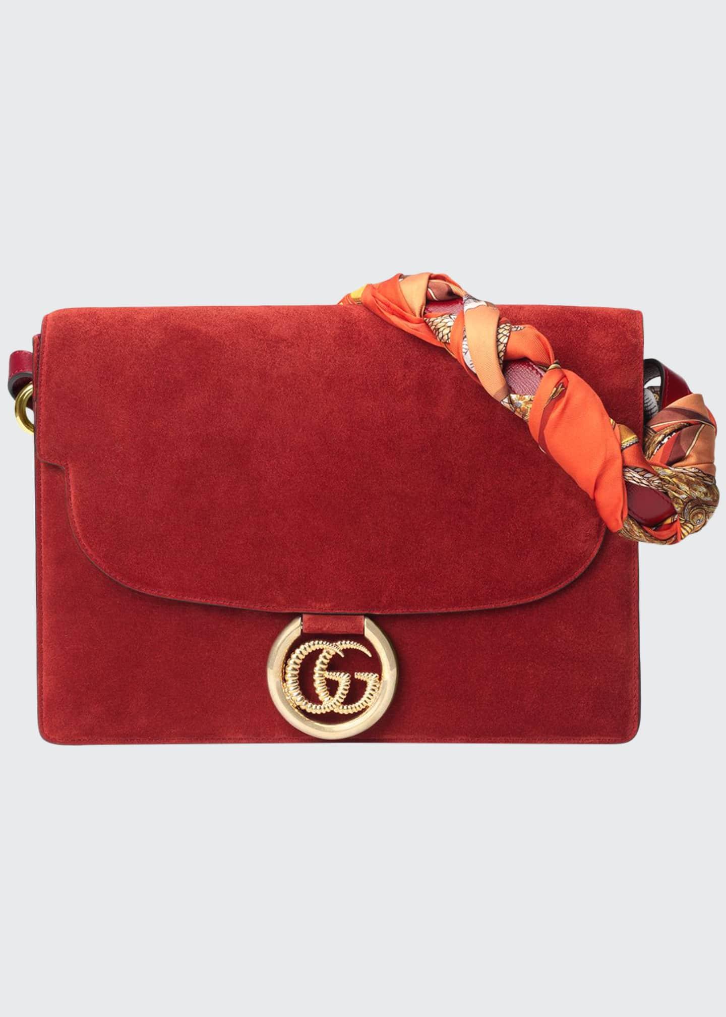 Gucci GG Ring Suede Shoulder Bag
