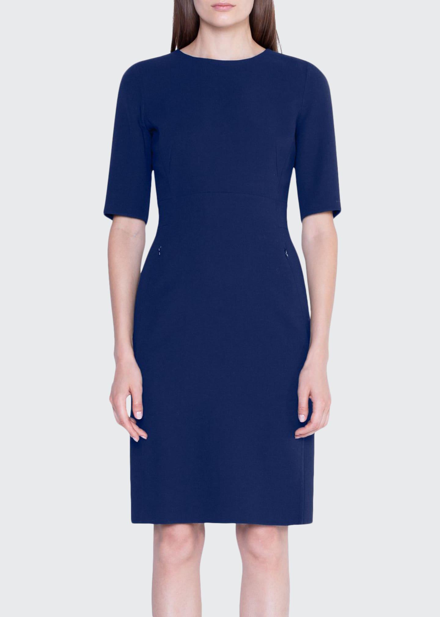 Akris Double-Face Wool Half-Sleeve Dress