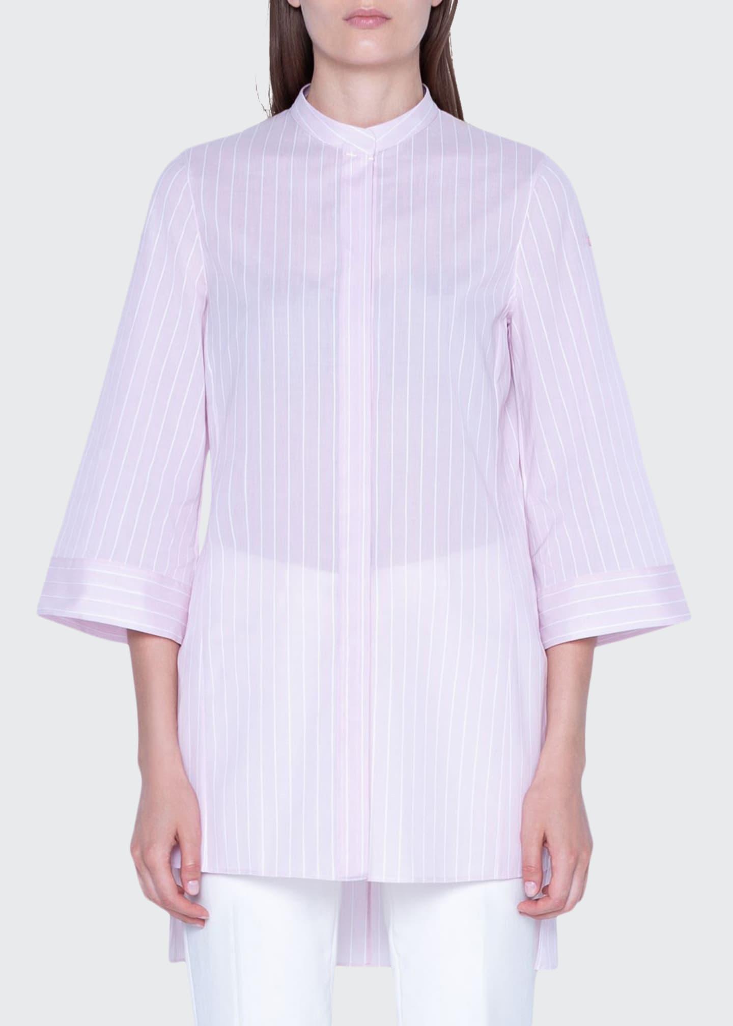 Akris Striped Wide 3/4-Sleeve Tunic