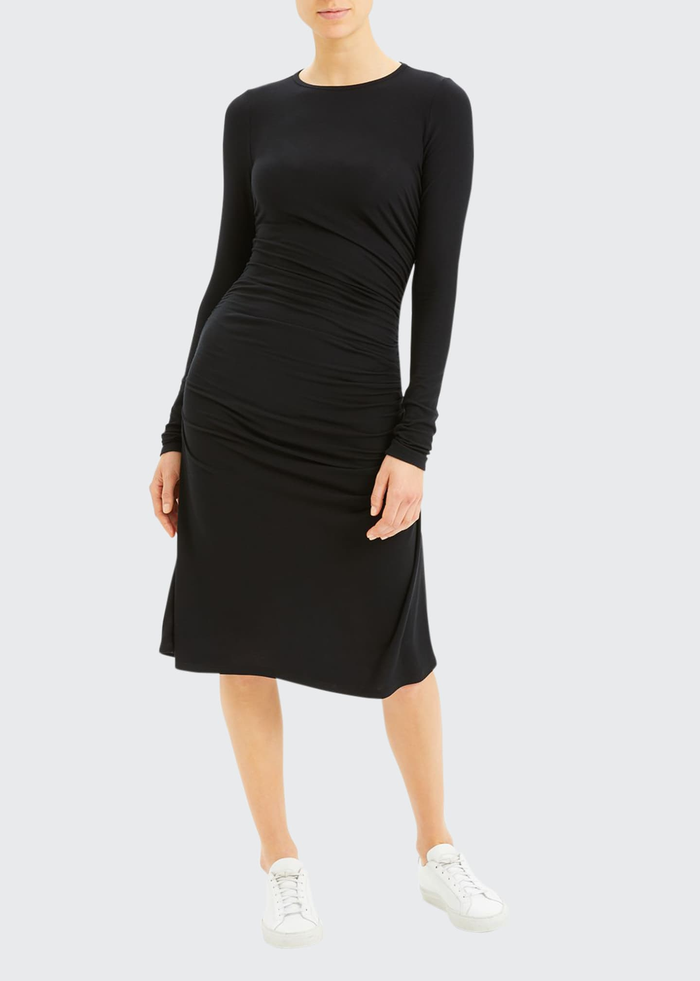 Long-Sleeve Gathered Waist Dress