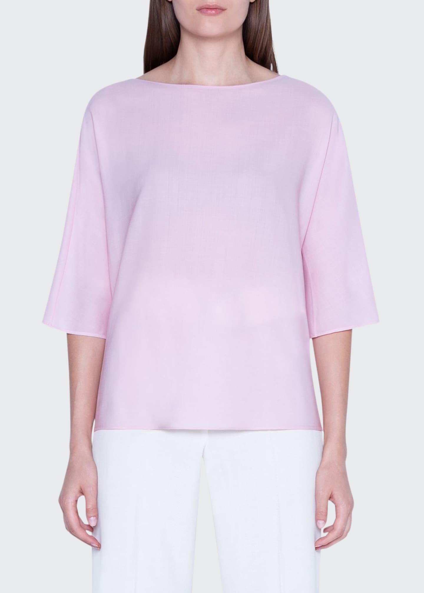 Akris 3/4-Sleeve Wool-Silk Crewneck Top