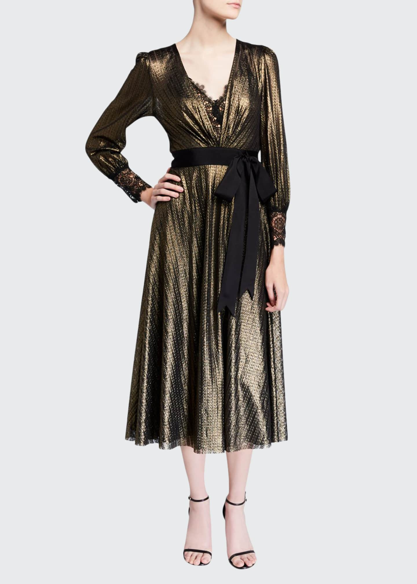 Catherine Deane Metallic Knitted V-Neck Long-Sleeve Midi Dress