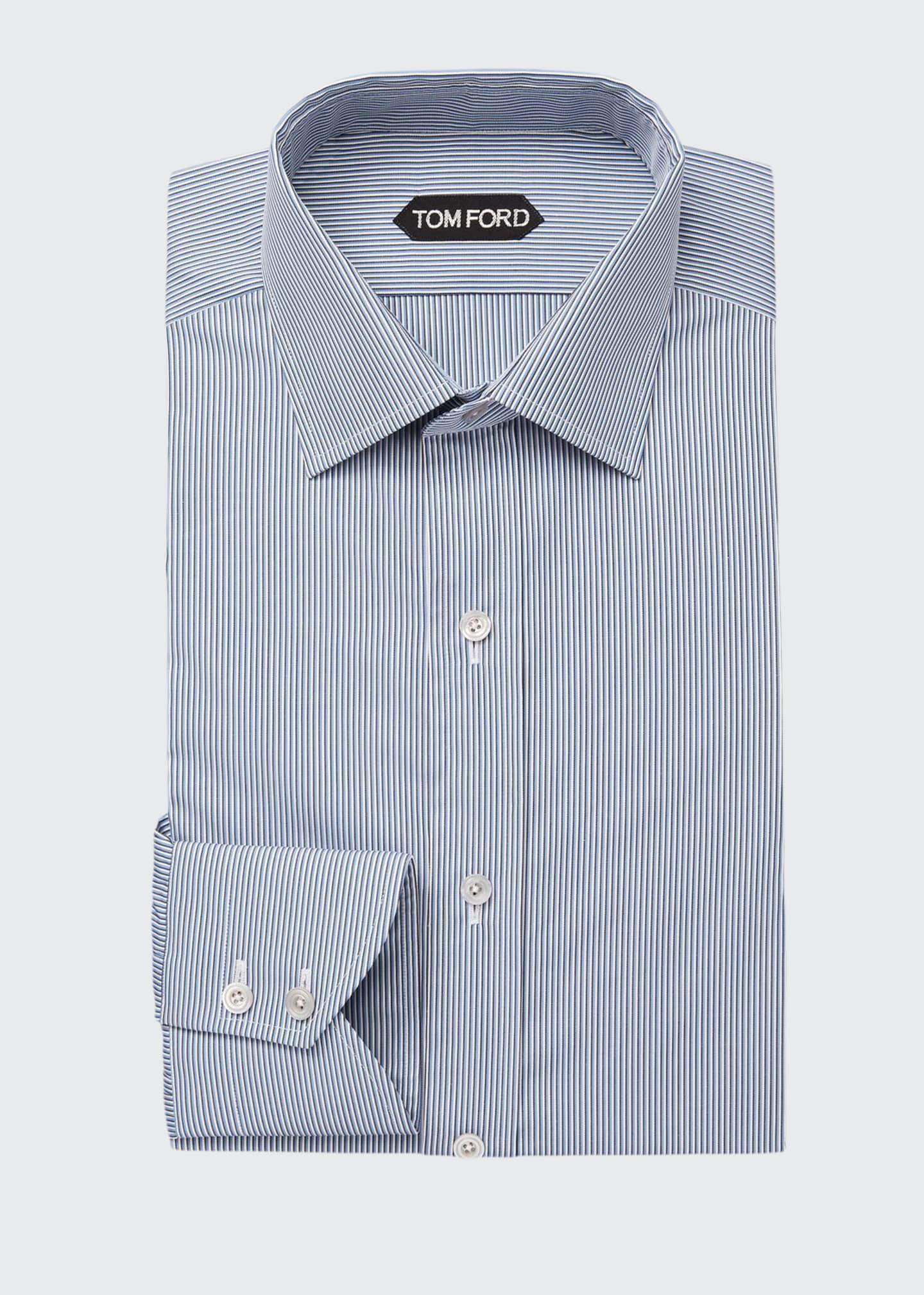 Image 1 of 2: Men's Classic Small-Collar Striped Dress Shirt