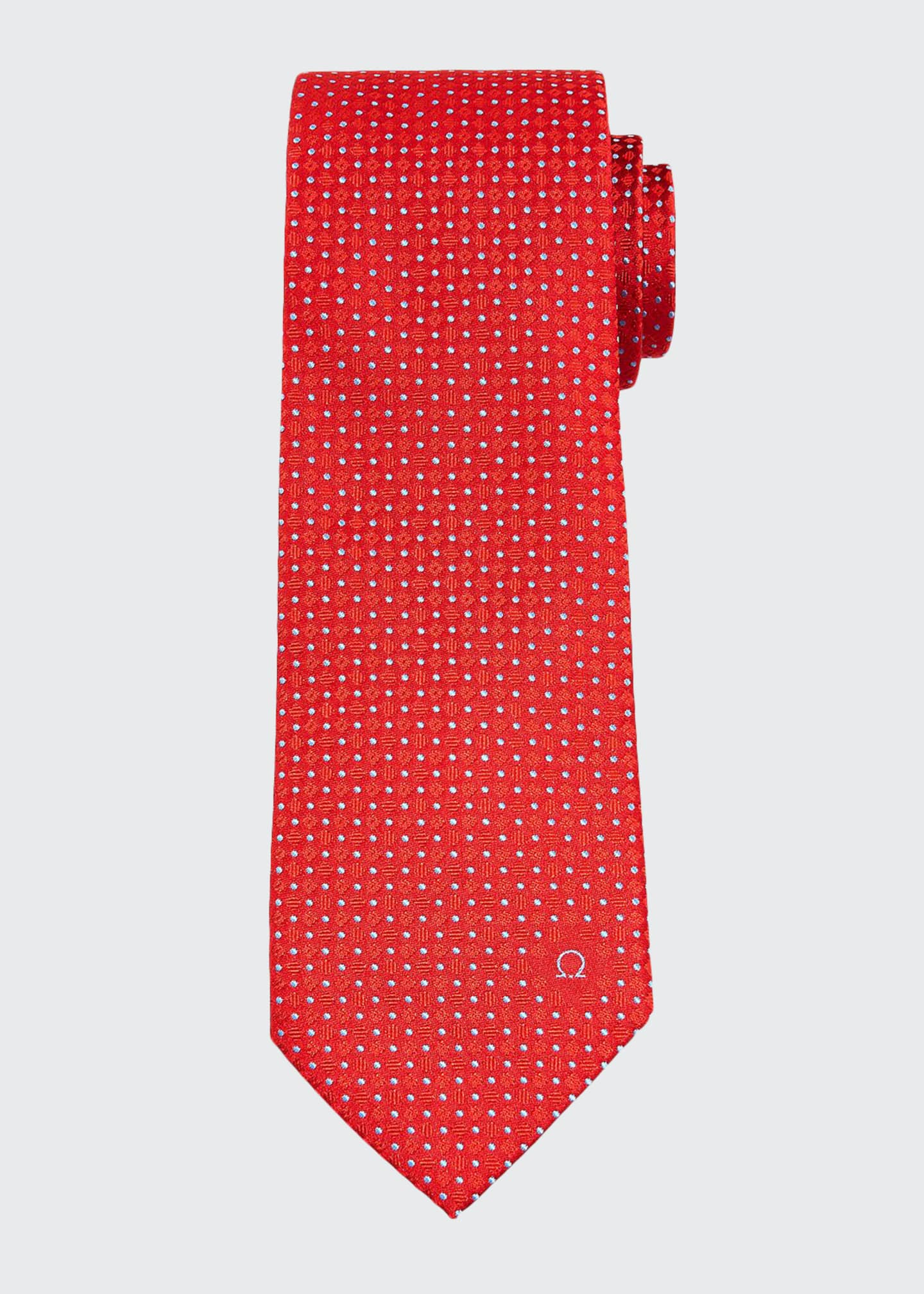 Image 1 of 1: Men's Patterned Silk Twill Tie