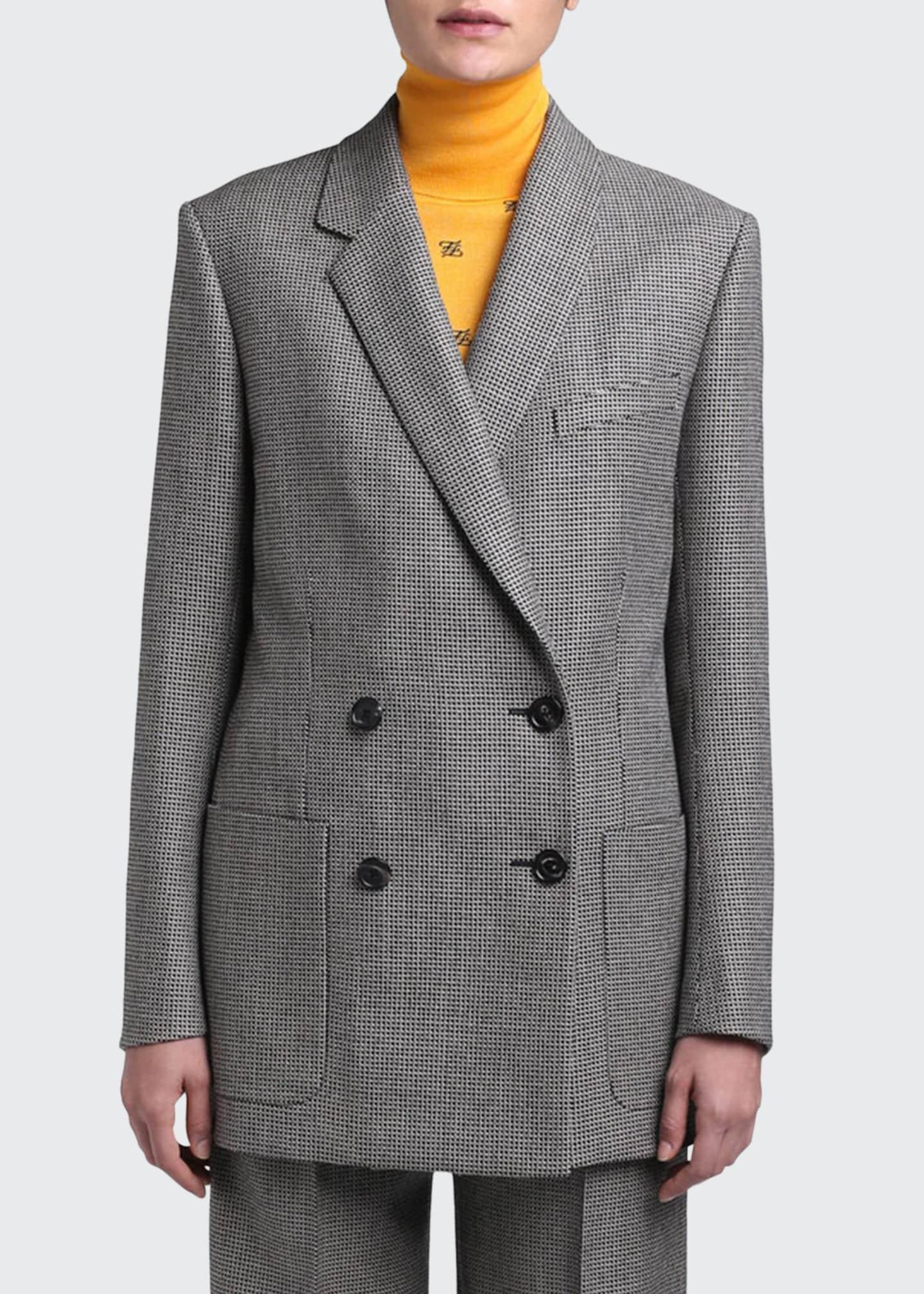 Fendi Pixel-Wool Double-Breasted Jacket