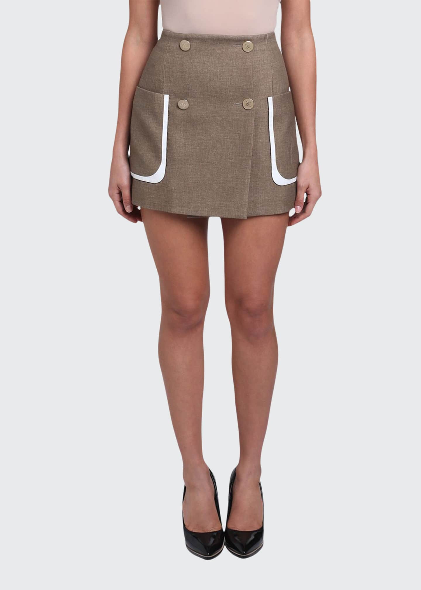 Image 1 of 4: Oversized-Pocket Mini Skirt