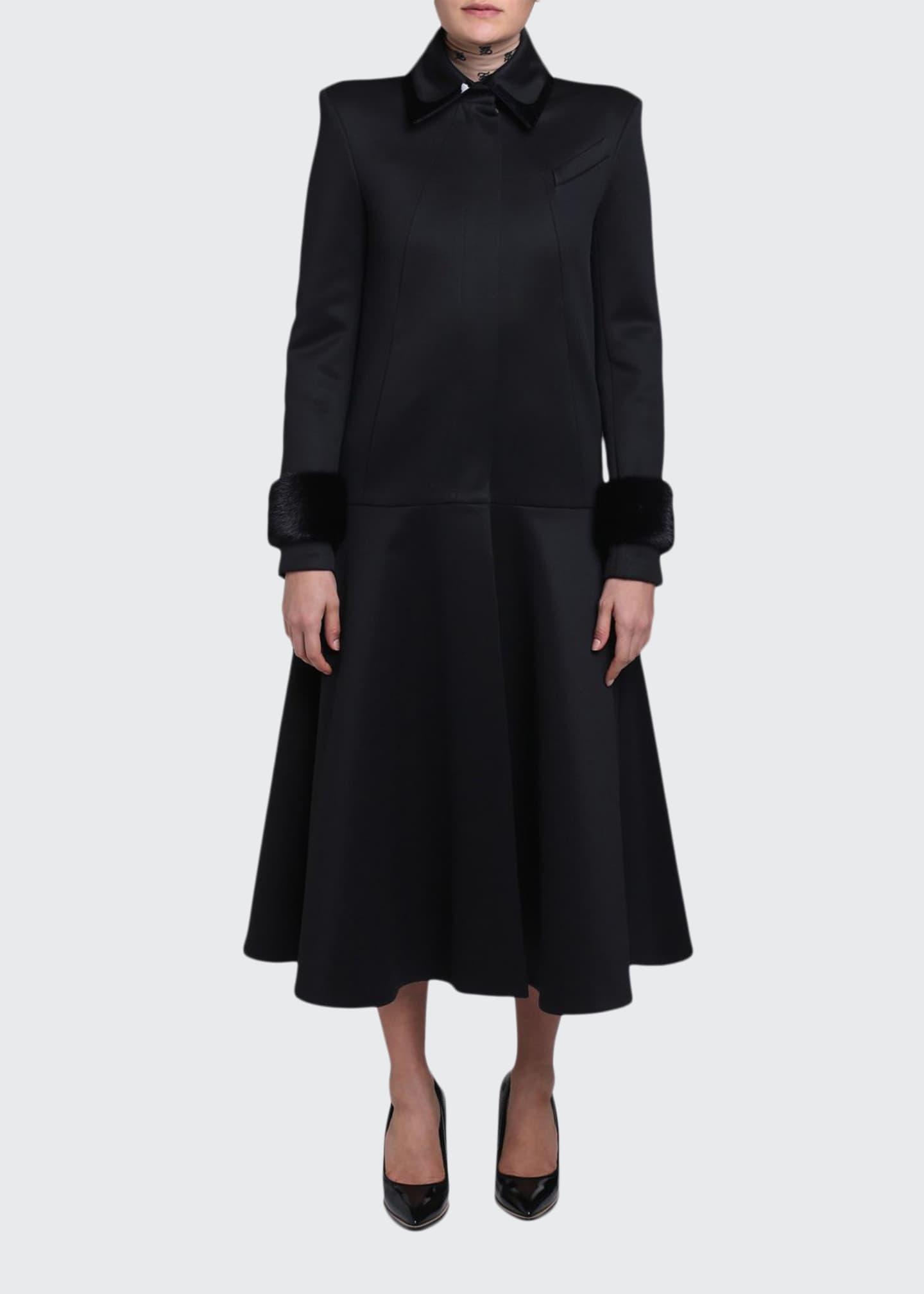 Fendi Mink-Cuff Compact Jersey Coat