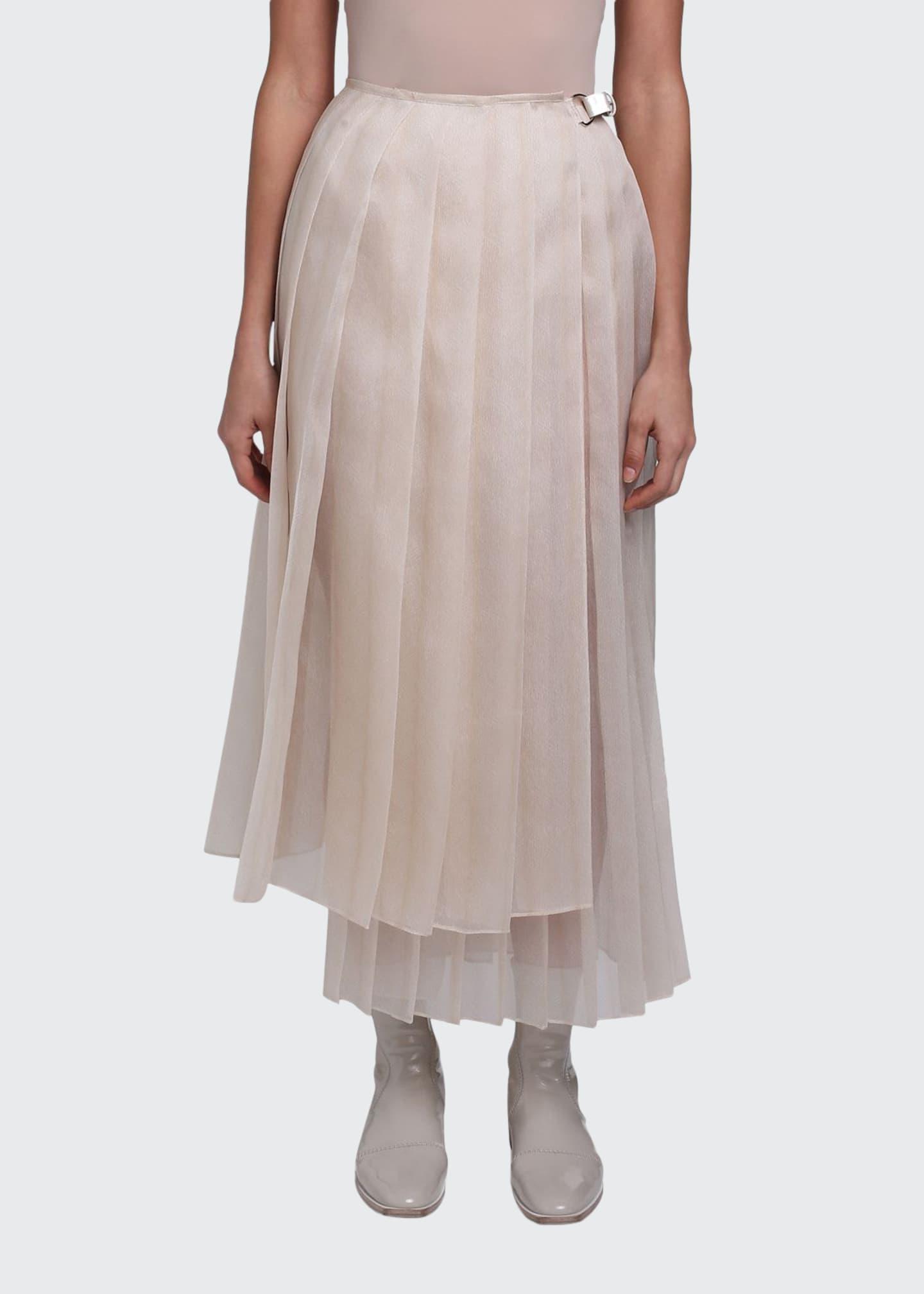 Fendi Pleated Silk Feather Organza Maxi Skirt