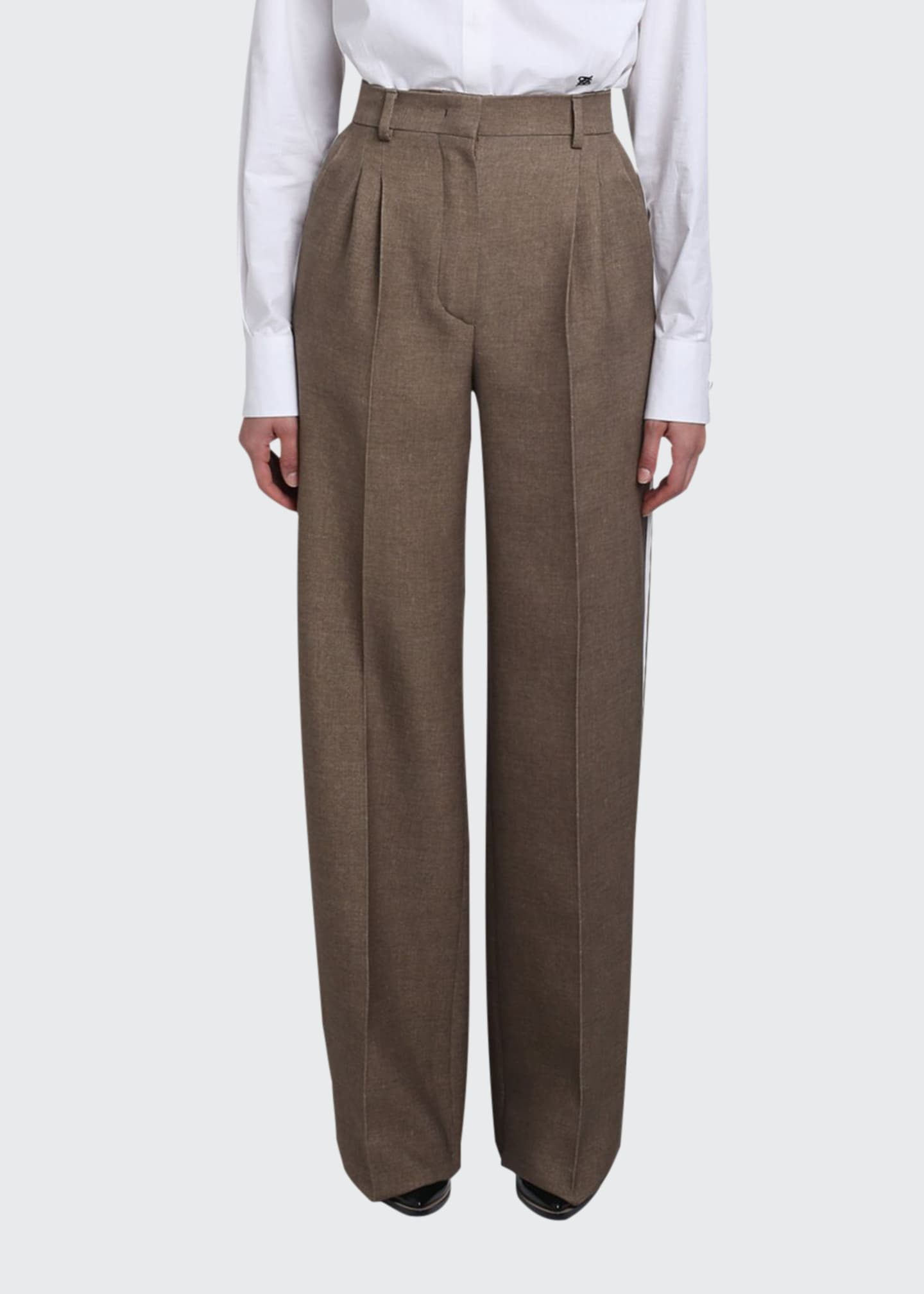 Fendi Wool-Silk Wide-Leg Pants w/ Leather Tuxedo Stripe
