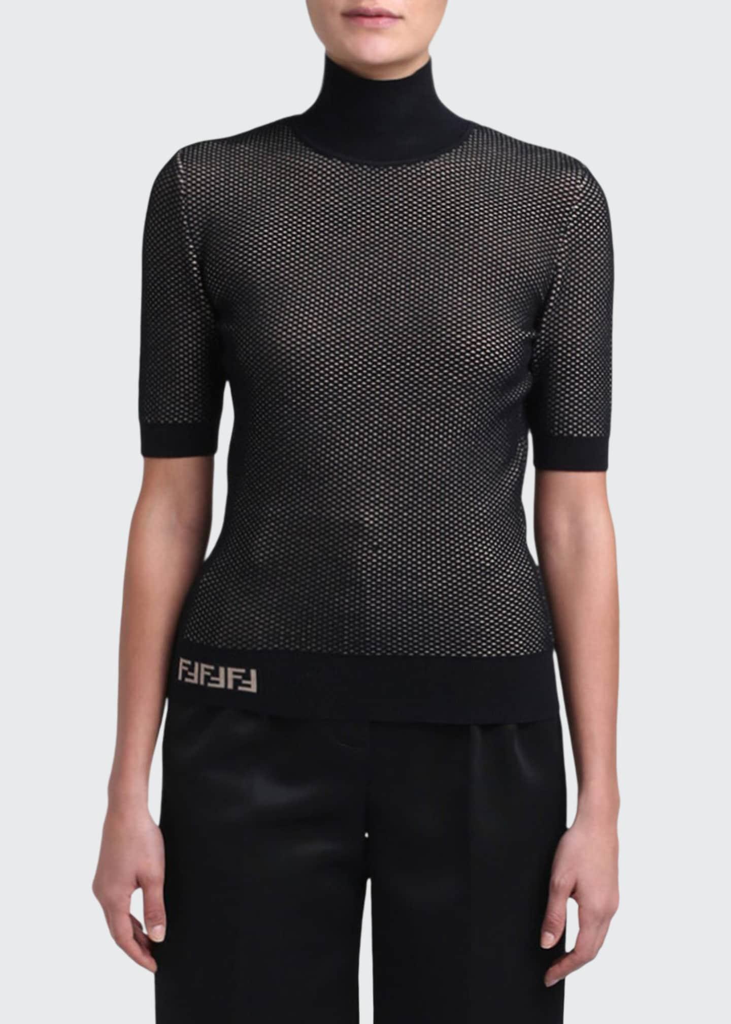 Fendi Mesh Knit Turtleneck Sweater