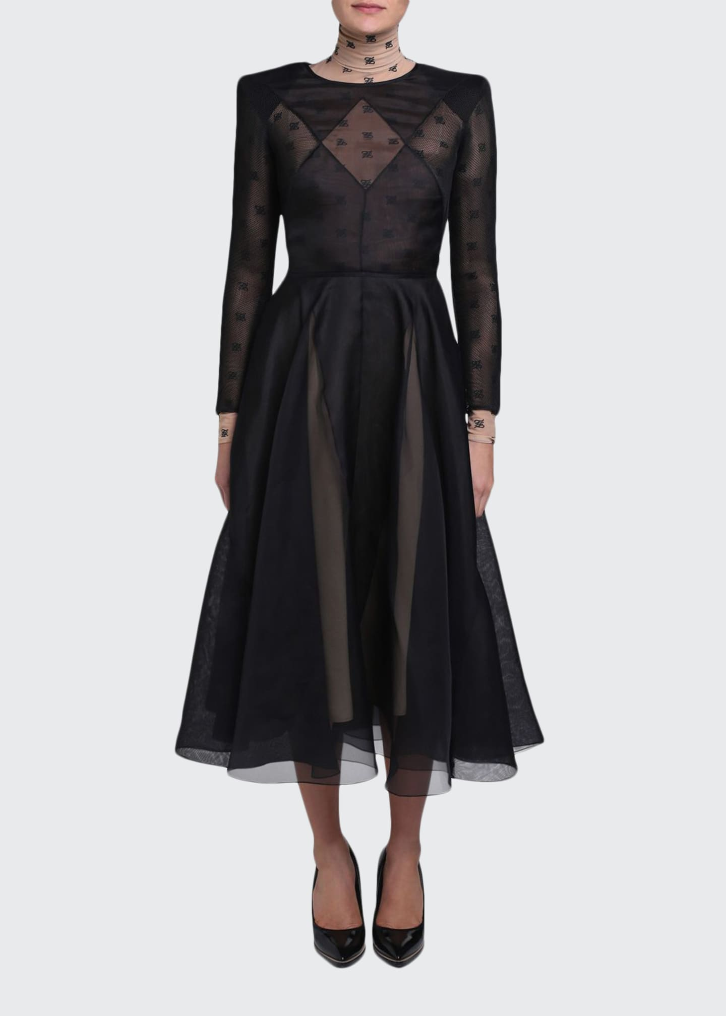 Fendi Chiffon Long-Sleeve Dress with Logo-Print Turtleneck Lining