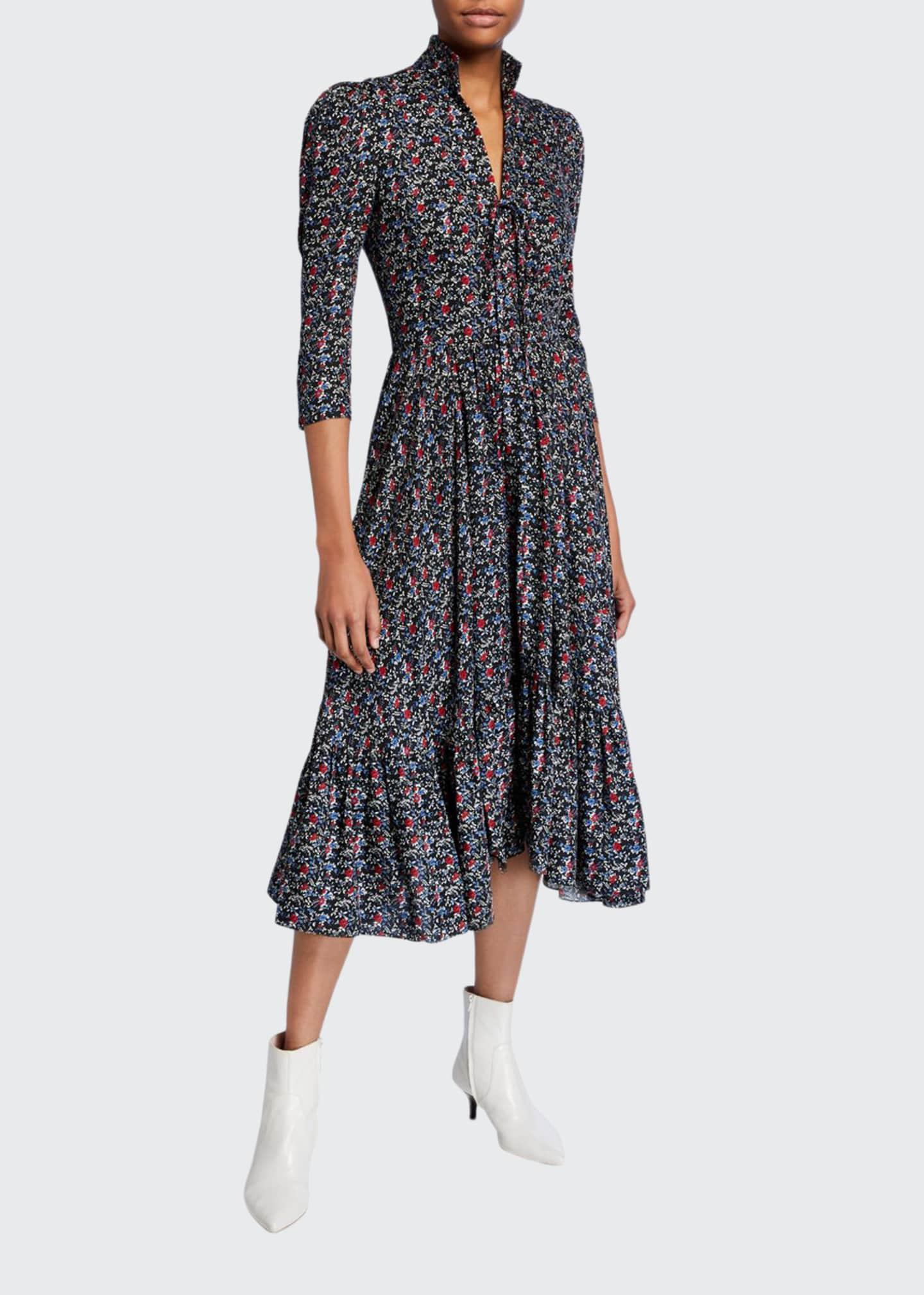 Petersyn Lorna Printed 3/4-Sleeve Midi Dress