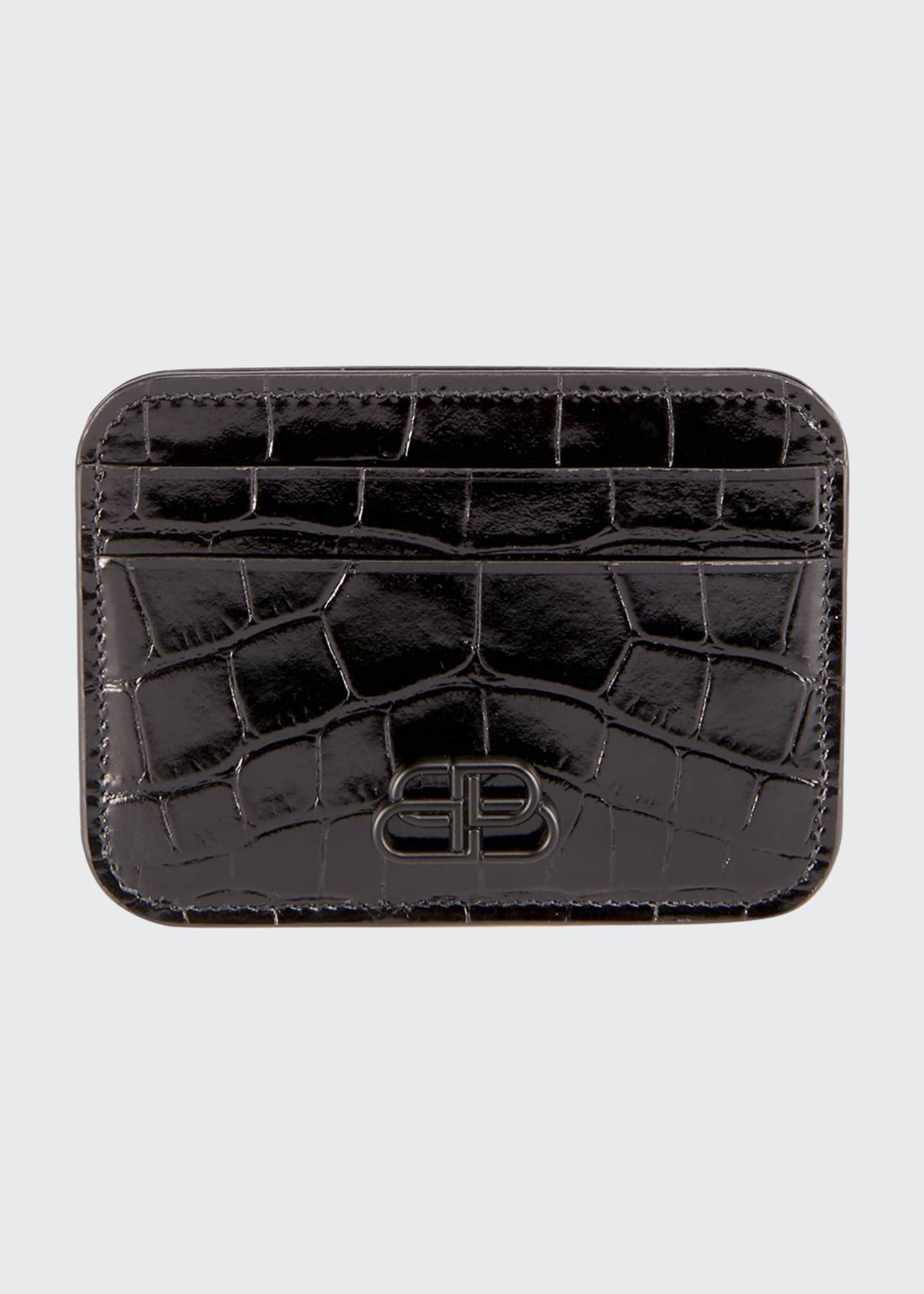 Balenciaga BB Shiny Crocodile-Embossed Card Case